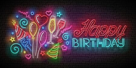 Glow Greeting Card with  Balloons, Champagne, Confetti and Happy Birthday Inscription. Neon Lettering. Poster, Banner, Invitation. Seamless Brick Wall. Vector 3d Illustration. Clipping Mask, Editable