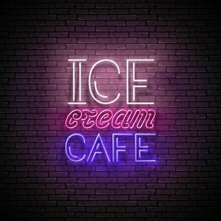 Vintage Glow Signboard with Ice Cream Café Inscription. Neon Retro Lettering. Template for Flyer, Poster, Banner, Playbill, Invitation. Brick Wall. Vector 3d Illustration. Clipping Mask, Editable Çizim