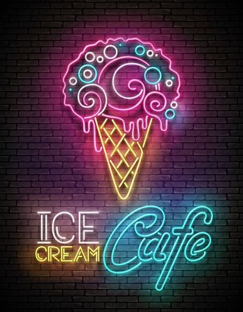 Vintage Glow Poster with Ice Cream Ball in Cone and Inscription. Neon Lettering. Template for Flyer, Banner, Invitation. Brick Wall, Vertical Seamless. Vector 3d Illustration. Clipping Mask, Editable 일러스트