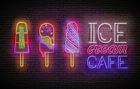 Vintage Glow Poster with Ice Cream Lolly and Inscription. Neon Lettering. Template for Flyer, Banner, Invitation. Brick Wall, Seamless. Vector 3d Illustration. Clipping Mask, Editable Vettoriali