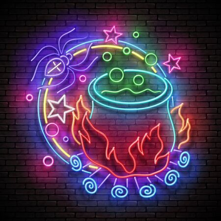 Glow Halloween Greeting Card with Potion in Witchs Cauldron and Spider. Postcard Holiday Template. Shiny Neon Light Poster, Banner, Invitation. Brick Wall. Vector 3d Illustration. Clipping Mask Stock Illustratie