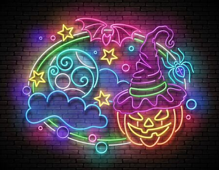 Glow Halloween Greeting Card with Witch Pumpkin, Bat, Spider, Moon on the Night Sky. Postcard Holiday Template. Shiny Neon Poster, Banner, Invitation. Brick Wall. Vector 3d Illustration. Clipping Mask