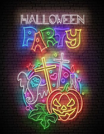 Glow Halloween Greeting Card with Pumpkin, Cross, Candle, Ghrost and Inscription. Neon Lettering. Shiny Template Poster, Banner, Invitation. Brick Wall. Vector 3d Illustration. Clipping Mask, Editable Stock Illustratie