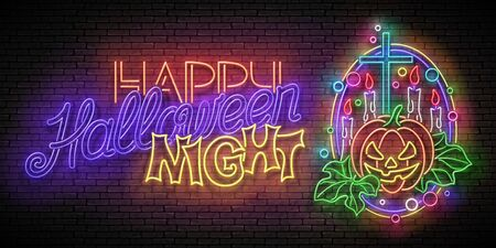Glow Halloween Greeting Card with Witch Pumpkin, Cross, Candles and Inscription. Neon Lettering. Shiny Template Poster, Banner, Invitation. Brick Wall. Vector 3d Illustration. Clipping Mask, Editable