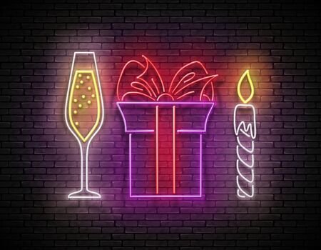 Glow Signboard with Gift, Champagne and Candle. Romantic Flyer, Happy Birthday Greeting Card. Poster, Banner, Invitation. Brick Wall, Vertical Seamless. Vector 3d Illustration. Clipping Mask, Editable Çizim