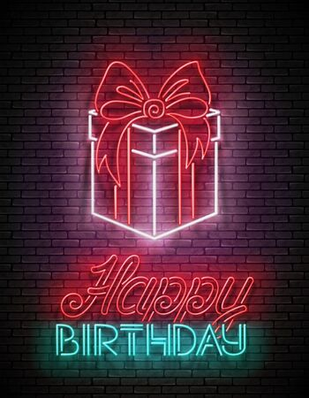 Vintage Glow Greeting Card with Gift and Happy Birthday Inscription. Neon Lettering. Shiny Poster, Banner, Invitation. Seamless Brick Wall. Vector 3d Illustration. Clipping Mask, Editable