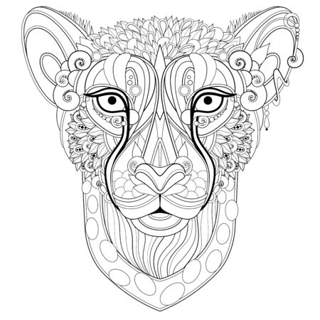 Ornate Decorative Gheetah, Wild Animal Head. Doodle Style. Patterned Tribal Design. Zoroastrian Horoscope Symbol. Coloring Book Page. Vector Contour Illustration