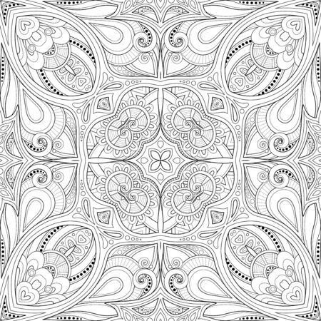 Einfarbiges nahtloses Muster mit Mosaik-Motiv. Endlose florale Textur im indischen Paisley-Stil. Fliese ethnischen Hintergrund. Malbuchseite. Vektor-Kontur-Abbildung. Abstrakte Mandala-Kunst