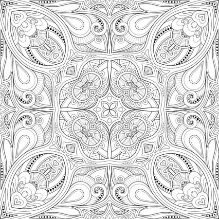 Monochrome Seamless Pattern with Mosaic Motif. Endless Floral Texture in Paisley Indian Style. Tile Ethnic Background. Coloring Book Page. Vector Contour Illustration. Abstract Mandala Art