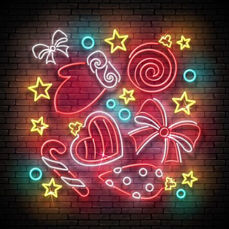 Glow Greeting Card with Christmas Decorations, Santa's Mitten and Candy. Happy New Year Postcard Template. Shiny Neon Poster, Flyer, Banner. Brick Wall. Vector 3d Illustration. Clipping Mask, Editable