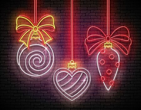 Glow Greeting Card with Christmas Tree Decorations. Happy New Year Holiday Postcard Template. Shiny Neon Light Poster, Flyer, Banner. Brick Wall. Vector 3d Illustration. Clipping Mask, Editable