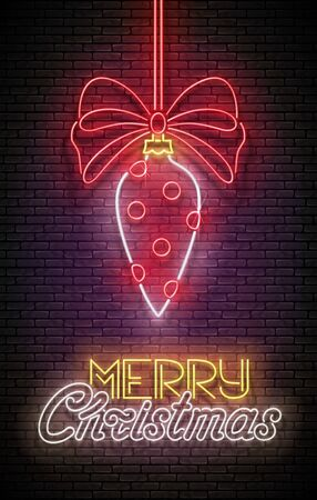 Greeting Card with Christmas Decorations and Inscription. Happy New Year Postcard Template. Shiny Neon Poster, Flyer, Banner, Invitation. Brick Wall. Vector 3d Illustration. Clipping Mask, Editable