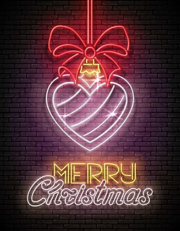 Greeting Card with Christmas Decorations and Inscription. Happy New Year Postcard Template. Shiny Neon Poster, Flyer, Banner, Invitation. Brick Wall. Vector 3d Illustration. Clipping Mask, Editable  イラスト・ベクター素材