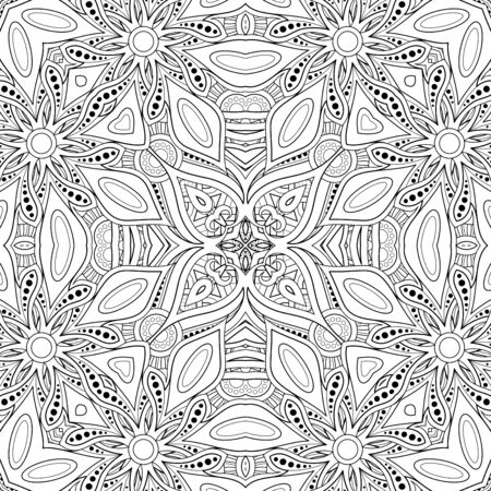 Monocromo de patrones sin fisuras con motivo de mosaico. Textura floral sin fin en estilo indio Paisley. Azulejos de origen étnico. Página de libro para colorear. Ilustración de contorno vectorial. Arte abstracto de mandala Ilustración de vector