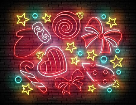 Glow Greeting Card with Christmas Decorations, Santas Mitten and Candy. Happy New Year Postcard Template. Shiny Neon Poster, Flyer, Banner. Brick Wall. Vector 3d Illustration. Clipping Mask, Editable