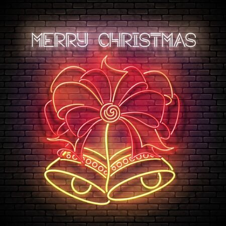 Glow Greeting Card with Two Christmas Bells, Bow and Inscription. Happy New Year Postcard Template. Shiny Neon Light Poster, Flyer, Banner. Brick Wall. Vector 3d llustration. Clipping Mask, Editable