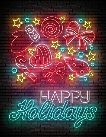Greeting Card with Christmas Decorations, Santas Mitten, Candy and Inscription. Happy New Year Template. Shiny Neon Poster, Flyer, Banner. Brick Wall. Vector 3d Illustration. Clipping Mask, Editable