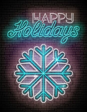 Glow Greeting Card with Freeze Snowflake and Inscription. Happy New Year, Merry Christmas Postcard Template. Shiny Neon Light Poster, Flyer, Banner. Brick Wall. Vector 3d Illustration. Clipping Mask