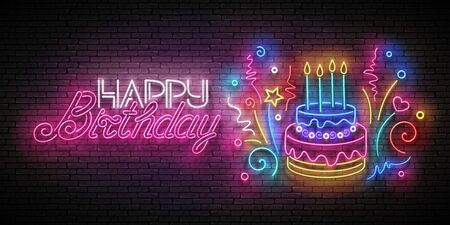Glow Greeting Card with Cake, Candles, Confetti and Happy Birthday Inscription. Neon Lettering. Shiny Poster, Banner, Invitation. Seamless Brick Wall. Vector 3d Illustration. Clipping Mask, Editable Foto de archivo - 135429764