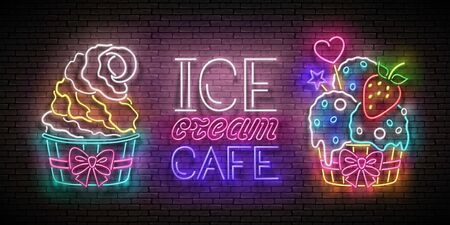 Vintage Poster with Ice Cream in Paper Cups. Balls and Cone, Frozen Yogurt, Strawberry, Candies. Cafe Flyer Template. Neon Light Banner. Brick Wall. Vector 3d Illustration. Clipping Mask