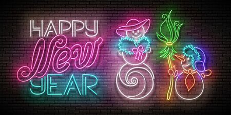 Glow Greeting Card with Snow Man and Woman in Love, Christmas Tree, Inscription. Happy New Year Template. Shiny Neon Poster, Flyer, Banner. Brick Wall. Vector 3d Illustration. Clipping Mask, Editable