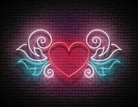 Vintage Glow Signboard with Ornate Heart. Valentine Greeting Card Template, Tattoo Parlor. Shiny Neon Light Poster, Flyer, Banner, Invitation. Brick Wall. Vector 3d Illustration. Clipping Mask