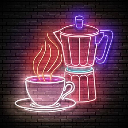 Vintage Glow Signboard with Cup of Coffee and Geyser Coffee Maker. Cafe Label, Morning Drink. Neon Poster, Flyer, Banner, Postcard, Invitation. Brick Wall. Vector 3d Illustration. Clipping Mask Vectores