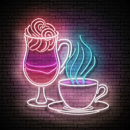 Vintage Glow Signboard with a Cup of Different Coffee. Cafe Label. Cappuchino, Espresso, Americano, Drink To Go. Neon Poster, Flyer, Banner, Postcard, Invitation. Brick wall. Vector 3d Illustration