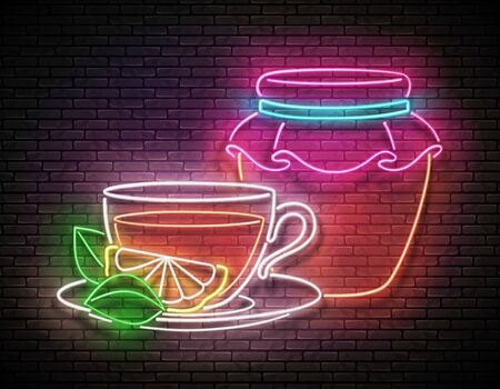 Vintage Glow Signboard with Glass Tea Pot, Cup, Lemon, Mint and Honey. Cafe Label, Herbal Drink. Neon Poster, Flyer, Banner, Postcard, Invitation. Brick Wall. Vector 3d Illustration. Clipping Mask