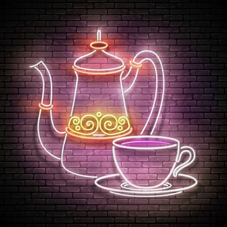 Vintage Glow Signboard with a Metal Cups and Pot of Turkish Coffee. Cafe Label, Traditional Drink. Neon Poster, Flyer, Banner, Postcard, Invitation. Brick Wall. Vector 3d Illustration