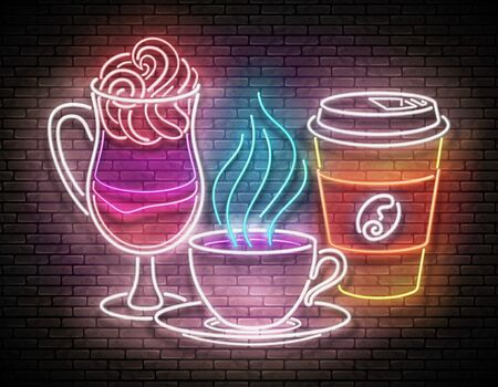 Vintage Glow Signboard with a Cup of Different Coffee. Cafe Label. Cappuchino, Espresso, Americano, Drink To Go. Neon Poster, Flyer, Banner, Postcard, Invitation. Brick Wall. Vector 3d Illustration Vectores