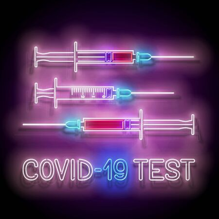 Set of Glow Medical Syringes with Blood. Template for Laboratory Testing. Pandemic Concept with Inscription. Neon Poster, Flyer, Banner. Vector 3d Illustration. Glossy Background Illustration