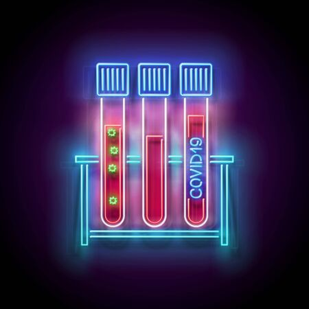 Glow Set of Medical Test Tubes with Blood Positive on Covid19 on the Stand. Template for Laboratory Testing. Pandemic Concept. Neon Poster, Flyer, Banner. Vector 3d Illustration. Glossy Background