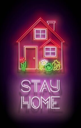 House, Red Roof and Flowerbed and Inscription. Template for Quarantine Informing, Self Isolation Time. Covid-19 Pandemic Concept. Neon Poster, Flyer, Banner, Invitation. Vector 3d Illustration