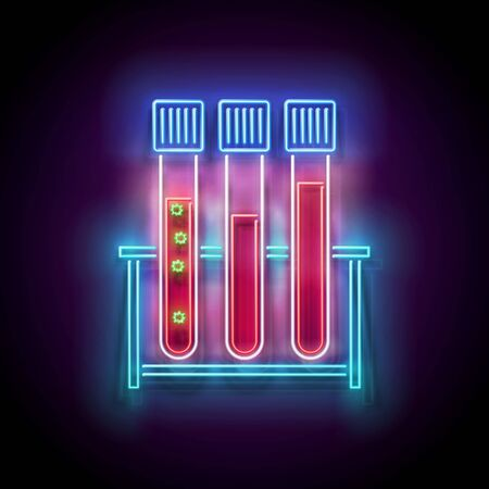 Glow Set of Medical Test Tubes with Infected Blood on Stand. Template for Laboratory Testing. Virus or Bacterium Contamination Concept. Neon Poster, Flyer, Banner. Vector 3d Illustration