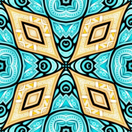 Colored Seamless Pattern with Floral Ethnic Motifs. Endless Texture with Abstract Design Elements. Indian, Turkish, Batik, Paisley Garden Style. Realistic Complex Ornament. Vector 3d Illustration