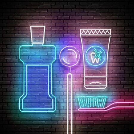 Glow Toothpaste Tube, Toothbrush, Mouthwash Bottle and Dentist Mirror, Personal Care Products. Healthcare Concept. Neon Light Poster, Flyer, Banner, Signboard. Brick Wall. Vector 3d Illustration
