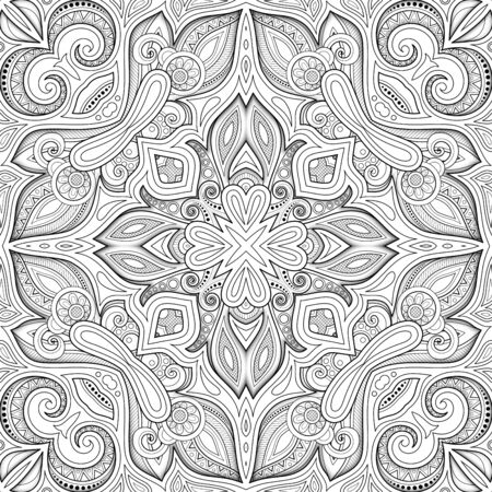 Monochrome Seamless Pattern with Mosaic Motif. Endless Floral Texture in Paisley Indian Style. Tile Ethnic Background. Coloring Book Page. Vector 3d Contour Illustration. Abstract Mandala Art Vektorgrafik