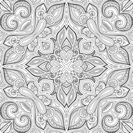 Modello senza cuciture monocromatico con motivo a mosaico. Texture floreale senza fine in stile indiano Paisley. Sfondo Etnico Di Piastrelle. Pagina del libro da colorare. Illustrazione di contorno 3d di vettore. Arte astratta mandala Vettoriali