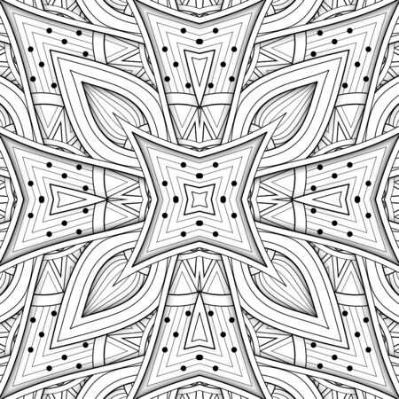 Monochrome Seamless Pattern with Floral Ethnic Motifs. Endless Texture with Abstract Design Elements. Indian, Turkish, Batik, Paisley Garden Style. Coloring Book Page. Vector 3d Contour Illustration