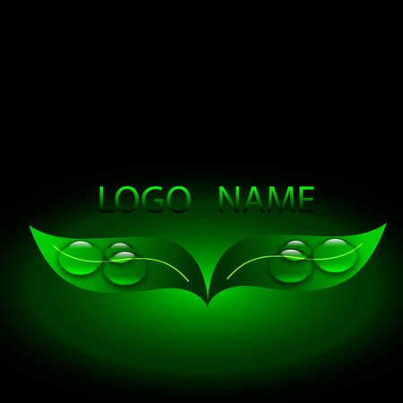 dew drop: Vector illustration of a green logo, ecology, clean water Illustration