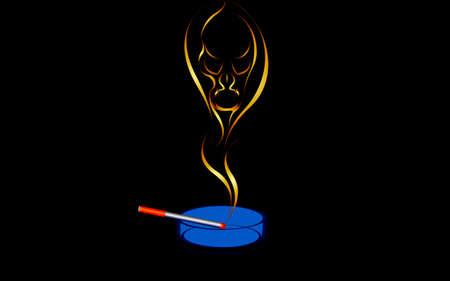 devil's bones: Vector illustration of a Smoking is harmful to health