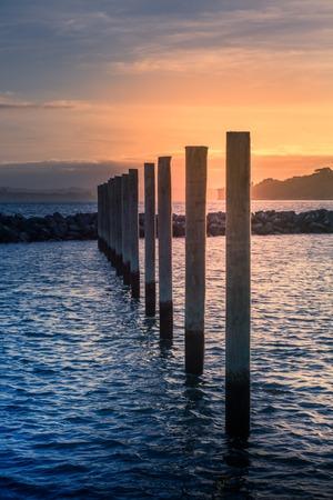 Dramatic sunset over Gulf Harbour marine. Mooring poles lined up towards horizon. Auckland, New Zealand 版權商用圖片