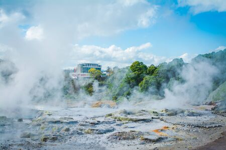 Steam rising above hot rocks in geothermal area near Rotorua, New Zealand