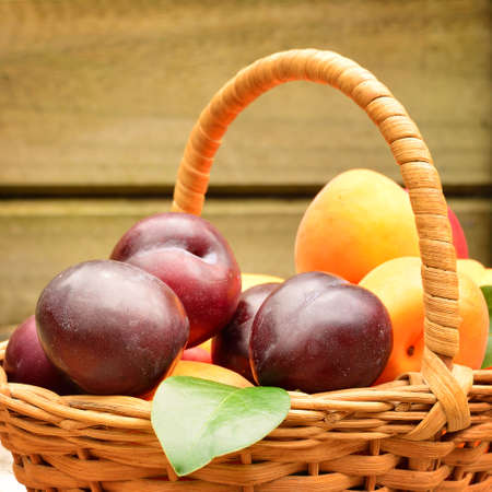 A wicker basket with fresh plums and apricots over wooden background. Close-up. Selective focus Archivio Fotografico