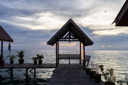 mabul: Traditional bungalows - Mabul island, Malaysia.