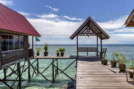 bungalows: Traditional bungalows - Mabul island, Malaysia.