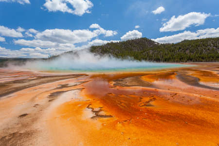 prismatic: Grand Prismatic basin, Yellowstone, Wyoming, USA. Stock Photo