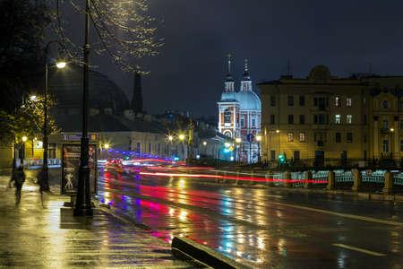 night traffic: Night traffic in Saint Petersburg, Panteleimonovskaya church