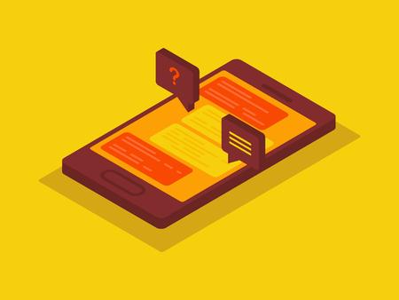 Social media marketing 3d isometric concept. 3d smartphone.